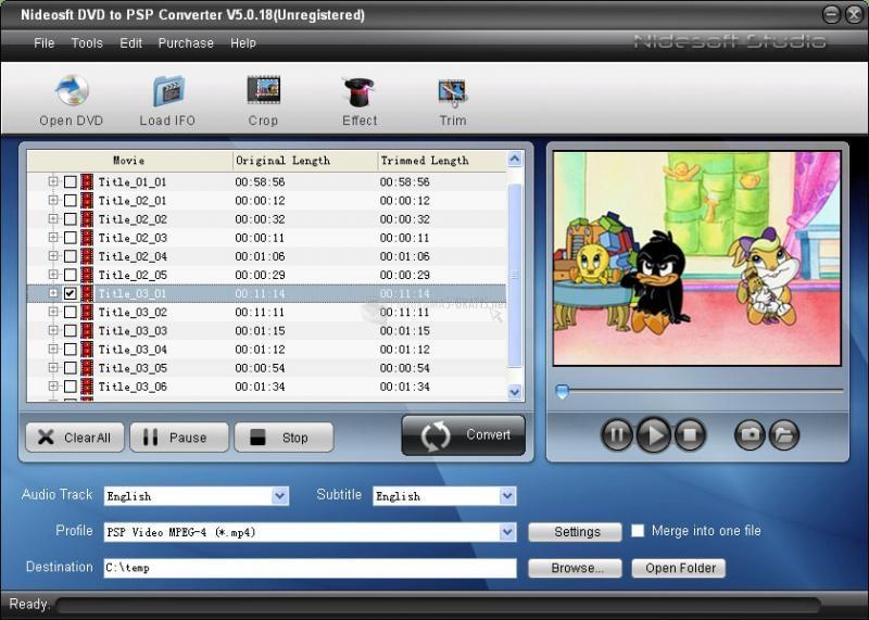 Pantallazo Nidesoft DVD to PSP Suite