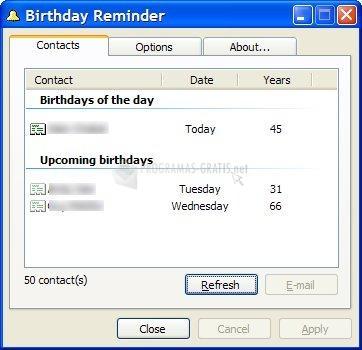 Pantallazo Noeld Birthday Reminder