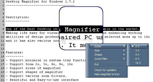 Pantallazo Easiestutils Desktop Magnifier