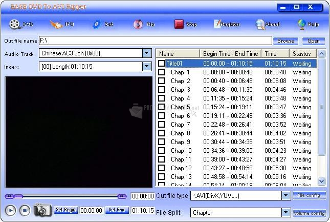 Pantallazo Ease DVD To AVI Ripper