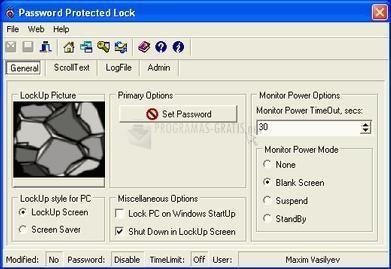 Pantallazo Password Protected Lock