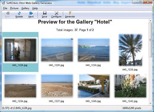 Pantallazo Html Web Gallery Creator