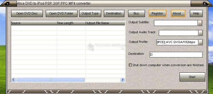 Pantallazo Alice DVD to PSP Converter