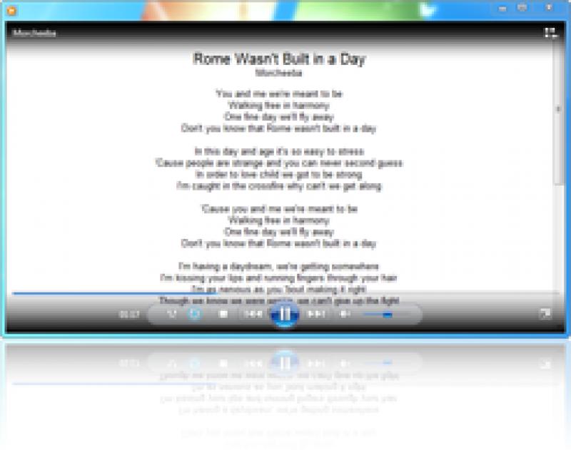 Pantallazo Lyrics Plugin Windows Media Player