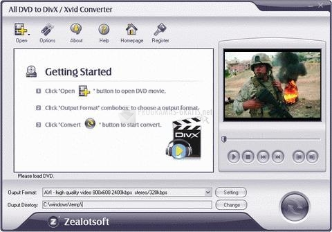 Pantallazo All DVD to DivX/XviD Converter