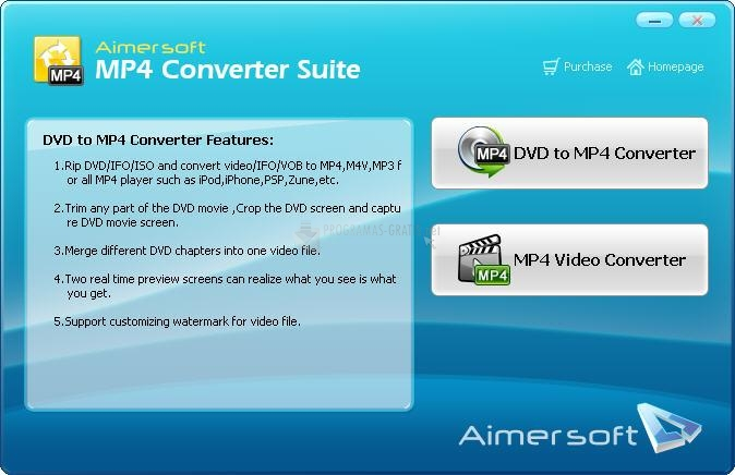 Pantallazo Aimersoft MP4 Converter Suite