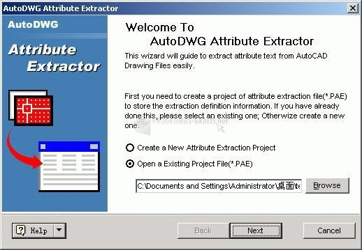 Pantallazo AutoDWG Attribute Extractor