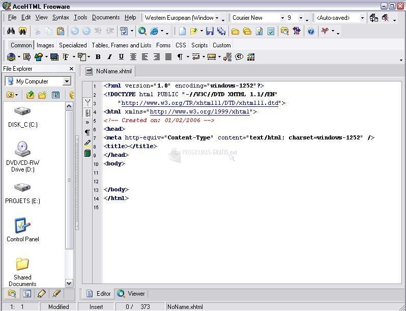 Pantallazo AceHTML Freeware