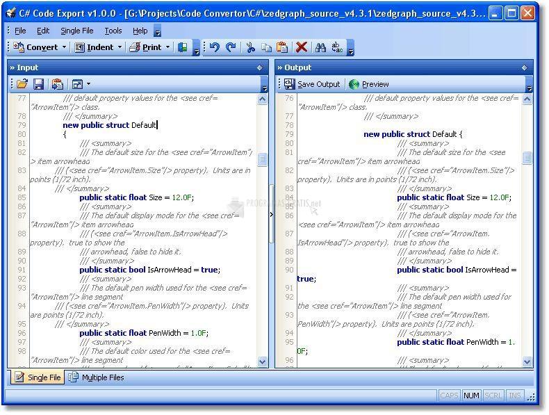 Pantallazo Text Code Export