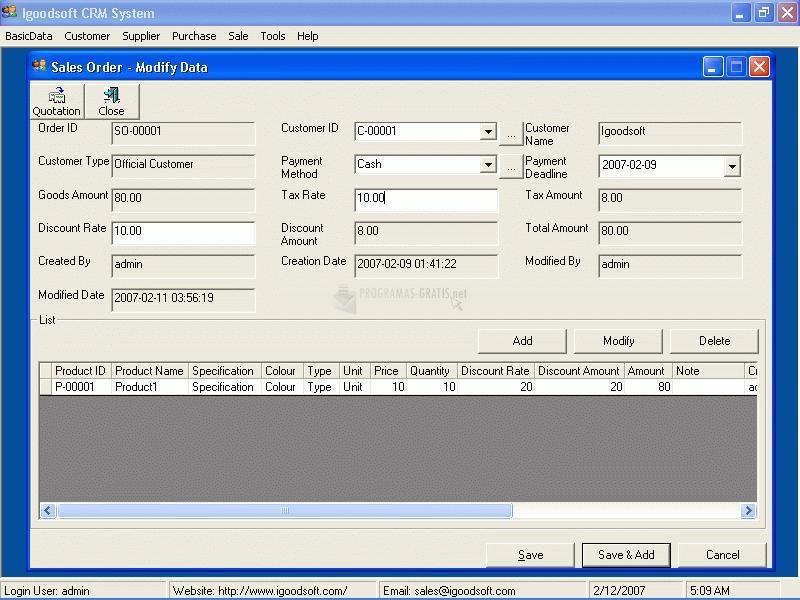 Pantallazo Igoodsoft CRM System (ACCESS)