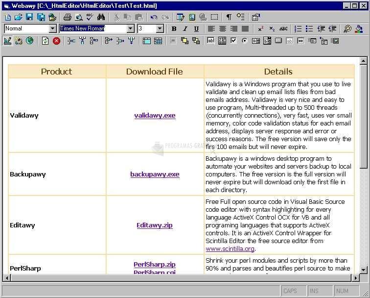 Pantallazo MSHTML Html Editor ActiveX