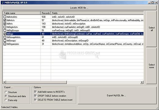 Pantallazo MdbToMySQL XP