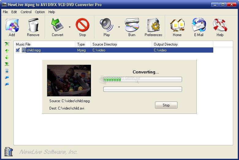 Pantallazo MPEG to AVI DIVX VCD DVD Converter Pro