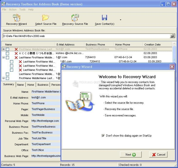 Pantallazo Recovery Toolbox for Address Book