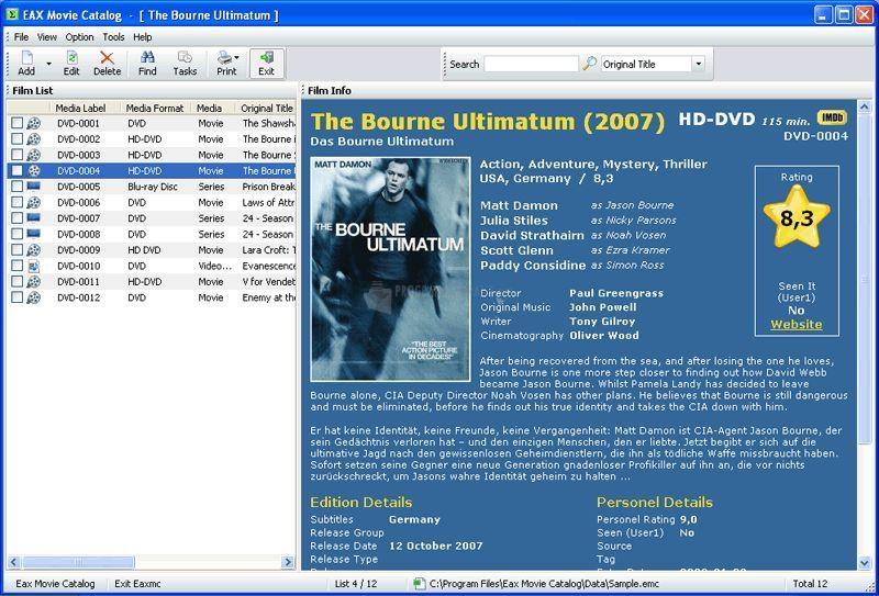Pantallazo Eax Movie Catalog