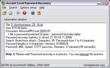 Pantallazo Accent Office Password Recovery