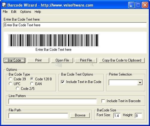 Pantallazo Barcode Printer Wizard