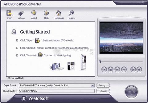 Pantallazo All DVD to iPod Converter