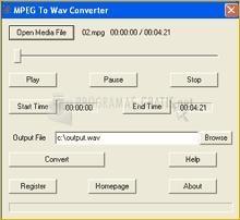 Pantallazo MPEG To Wav Converter