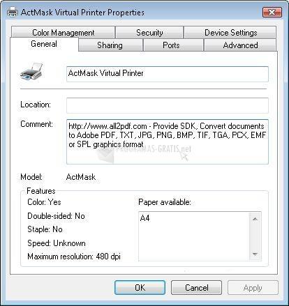 Pantallazo ActMask SPL Virtual Printer SDK