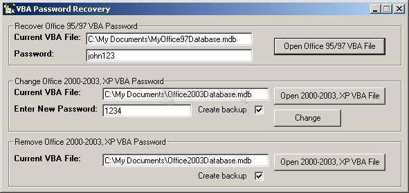 Pantallazo VBA Password Recovery