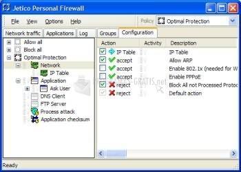 Pantallazo Jetico Personal Firewall