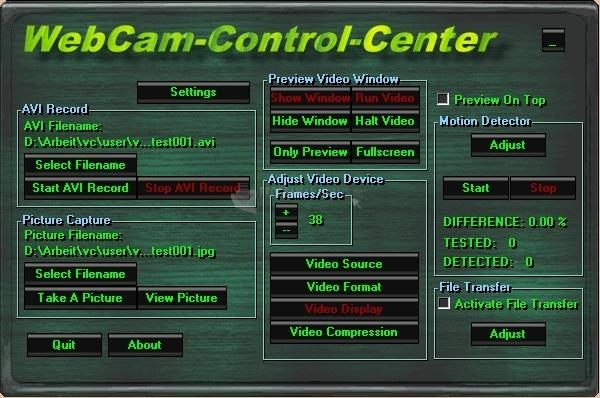Pantallazo Webcam Control Center