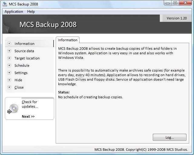 Pantallazo MCS Backup 2008