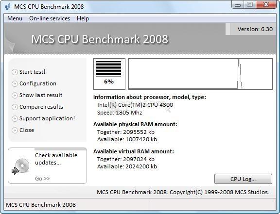 Pantallazo MCS CPU Benchmark 2008