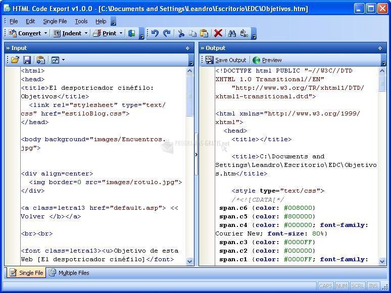 Pantallazo HTML Code Export