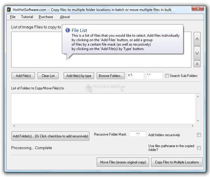 Pantallazo Copy files to multiple folder locations