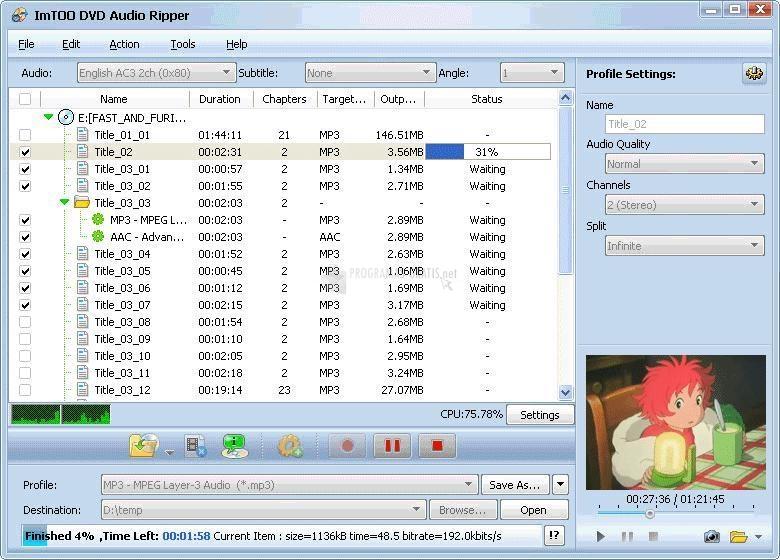 Pantallazo ImTOO Audio Converter Pack