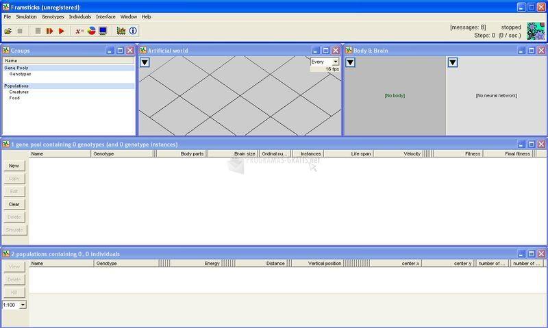Pantallazo Framsticks GUI