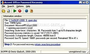 Pantallazo Accent ACCESS Password Recovery