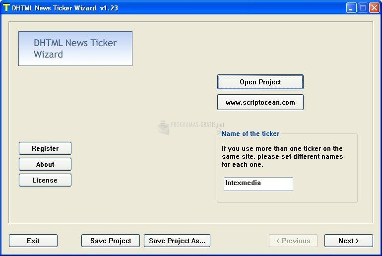 Pantallazo DHTML News Ticker Wizard