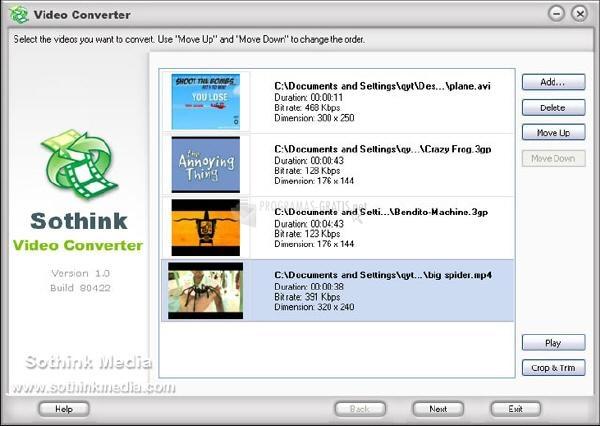 Pantallazo Sothink Video Converter