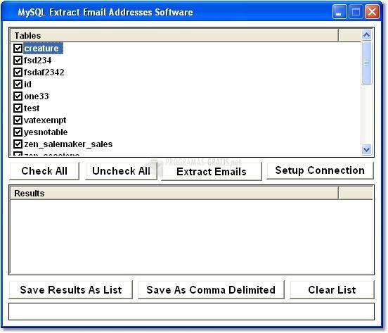 Pantallazo MySQL Extract Email Addresses