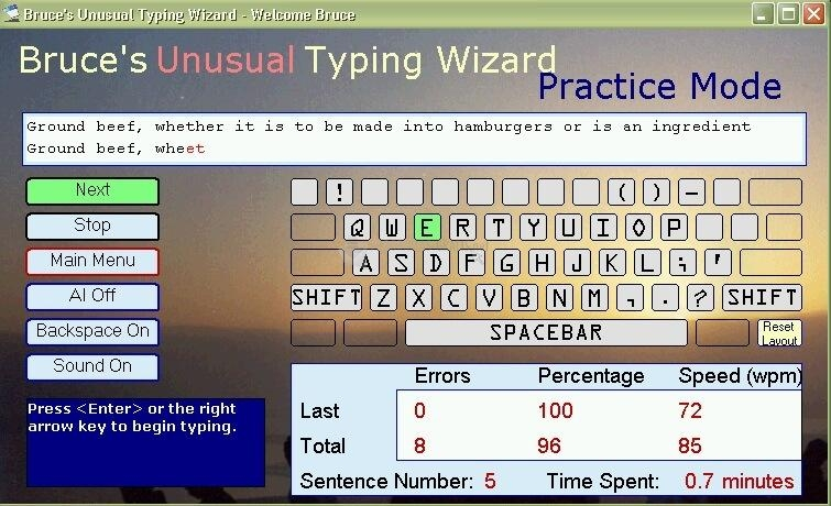 Pantallazo Bruce´s Unusual Typing Wizard
