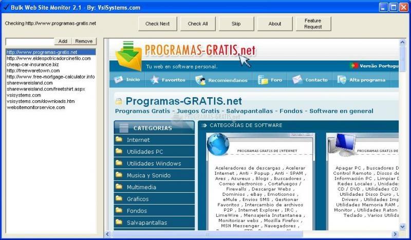 Pantallazo Bulk Web Site Monitor