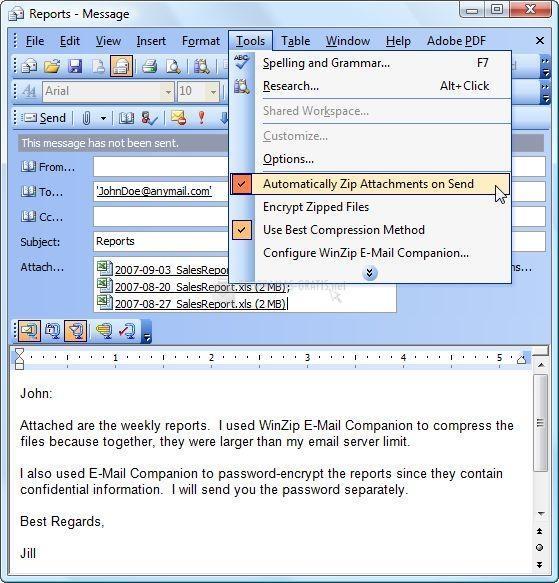 Pantallazo WinZip E-Mail Companion