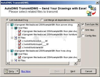 Pantallazo AutoDWG eTransmit