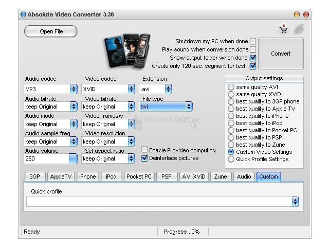 Pantallazo FLV Absolute Video Converter