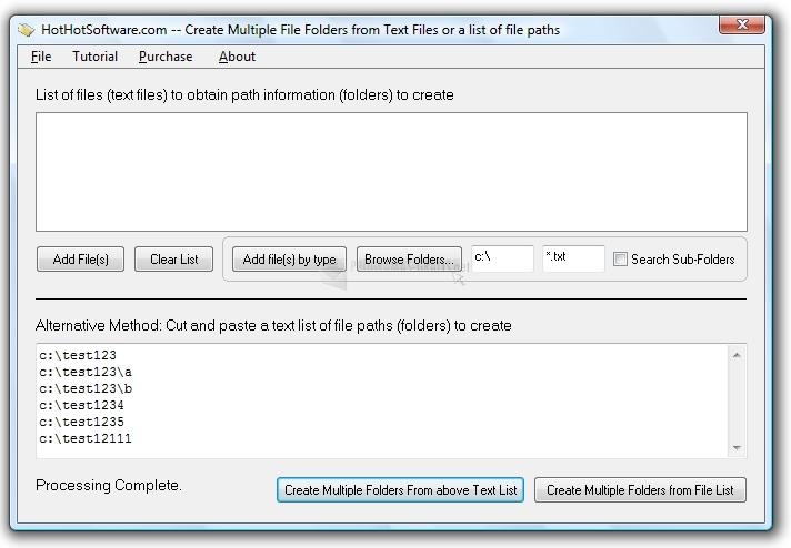 Pantallazo Create Multiple File Folders from Text Files
