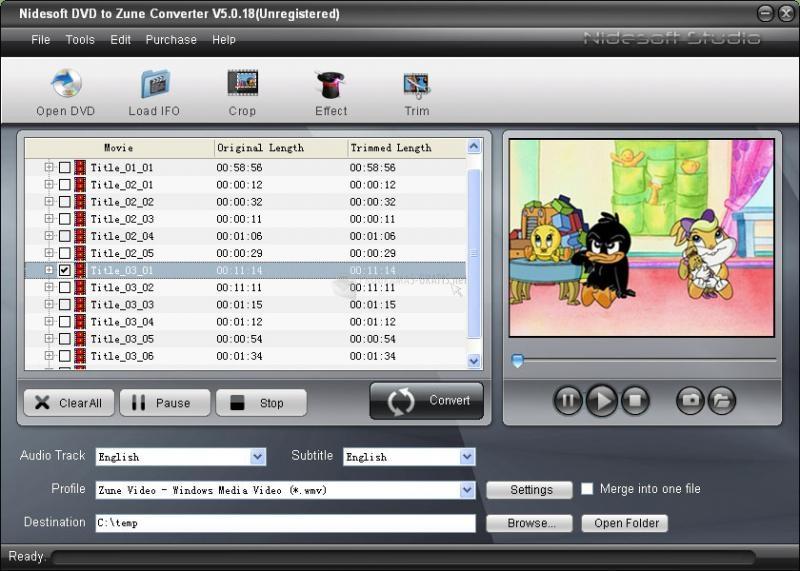 Pantallazo Nidesoft DVD to Zune Converter