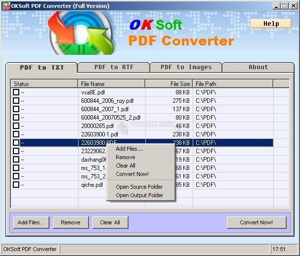 Pantallazo OKSoft PDF Converter