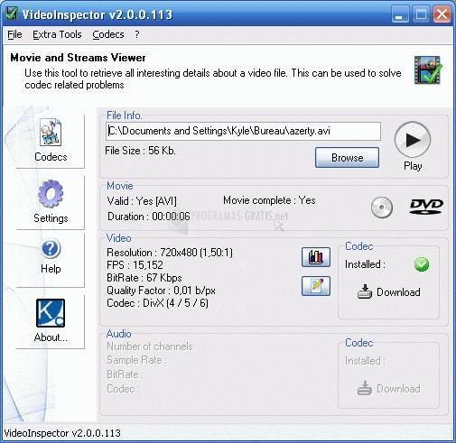 Pantallazo VideoInspector