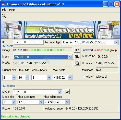 Pantallazo Advanced IP Address Calculator