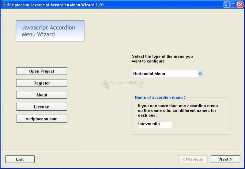 Pantallazo Javascript Accordion Menu Wizard
