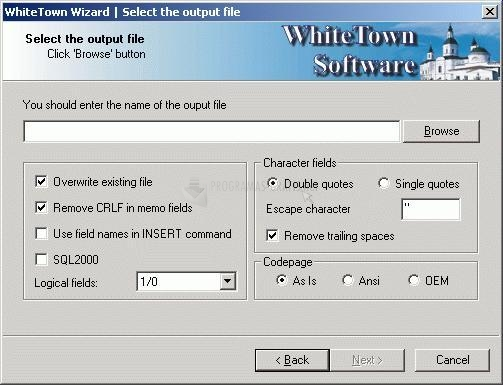 Pantallazo DBF to SQL Converter