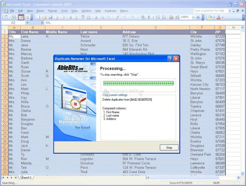 Pantallazo Duplicate Remover for MS Excel